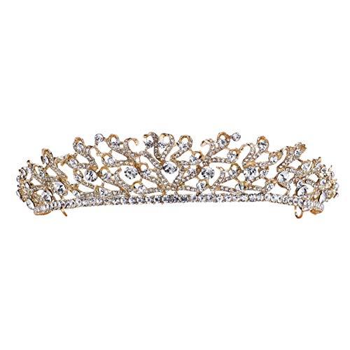 Lurrose Corona de Cristal Elegante Tiara de Diamantes de Imitación Brillante Elegante...