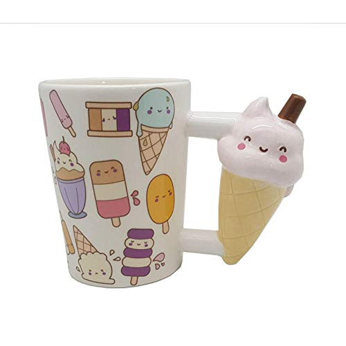 1 Pc Creative Ceramic Mug Beauty Tools 3D Hand Emoticon Ice Cream Popsicle Shape Cup Handle Tea Cup For Xmas Gift