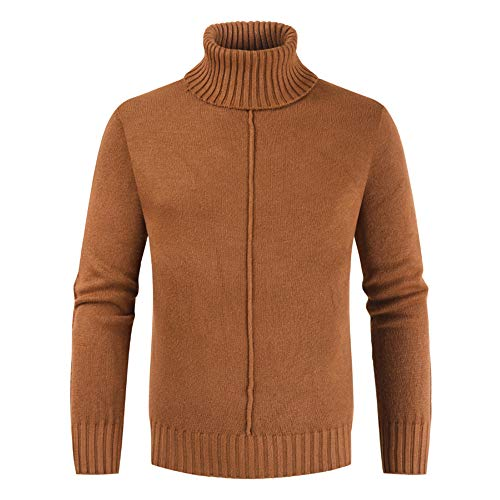 ZYUD Mens Jumpers High Roll Neck Knit Sweater Warm Pullover Mens Casual Turtleneck Sweater Long Sleeve Comfortable Soft Knitted Jumper Sweatshirt Turtle Neck Pullover Winter Sweater Brown
