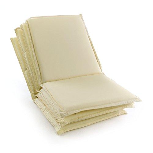 Nexos GL06060_SL4 Divero 4-er Set Sitz-Auflage Polster Hochlehner Garten-& Klappstuhl bequem Creme, 4 Stück (1er Pack)