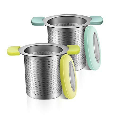 COSYLAND Tea Infuser with AntiScald Lid 18/8 Stainless Steel Tea Strainer Large Capacity Tea Filters FoodSafe Loose Tea Infuser Brewing Basket Mesh Strainer Pack of 2