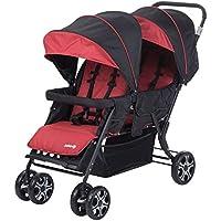 Safety 1st Teamy Cochecito gemelar y hermaños, Silla de paseo gemelar plegable, carrito gemelos doble, ligero y compacto, color Red Chic