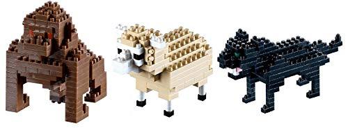 UDC Brixies - Juego de 3 puzles, gorila oveja y pantera negra.