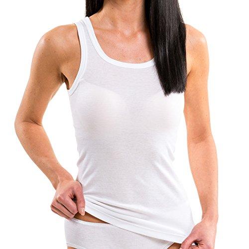 HERMKO 1325 Damen Longshirt in Trend-Farben aus 100{40201a7cefb3f28c4cbbe31c2da6515aae6bddb7dd86c283c2d4450de7eaa8ec} Bio-Baumwolle, Tank Top auch in Übergrößen, längeres Shirt für drüber und drunter, Farbe:weiß, Größe:44/46 (L)