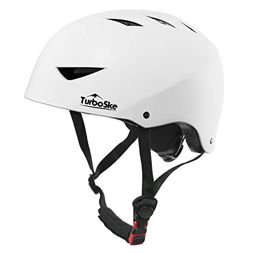 TurboSke Skateboard Helmet, ASTM & CPSC Certified Bike Helmet BMX Helmet Multi-Sport Helmet for Youth Men and Women (S/M, Matte White)