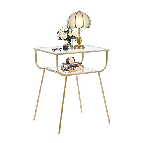 EKR Bedside Table Night Stands Side Table Tempered Glass Top for Bedrooms Living Room Mid Century Accent Metal Gold End Table Modern