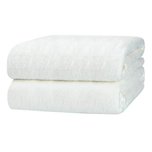 Yoofoss Asciugamani da Bagno Set di 2 Telo da Doccia 70x140cm Asciugamani in Microfibra Asciugatura e Assorbenti Biancheria da Bagno Bath Towel Bianca