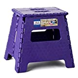 ACKO Folding Step Stool 13 inch Plastic Folding Stool,Kitchen Step Stool,Upgraed Foldable Step Stool for Adults,Plastic Stepping Stool,Purple