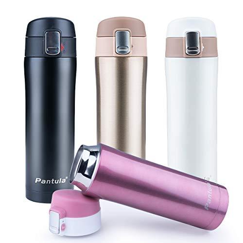 Pantula Thermobecher Edelstahl - 450ml - Travel Mug Vakuum Isolierte Auslaufsichere Isolierflasche für Reise, Büro, Kinder, Fitness, Yoga, Im Freien und Camping Trinkflasche | BPA FREI, Pink