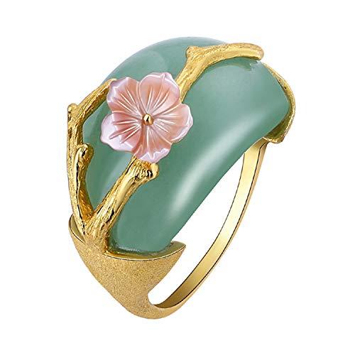 Lotus Fun - Anello in Argento Sterling 925 con Fiore di Prugna, con avventurina Naturale, Fatto a Mano, Gioiello Unico per Donne e Ragazze e