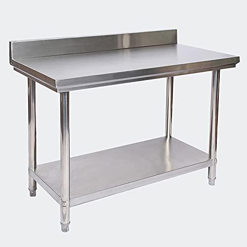 Wiltec Tavolo di Lavoro in Acciaio Inox con Bordo di Protezione 120 x 60 x 85 cm