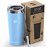 Umite Chef 22oz Tumbler Insulated Stainless Steel Travel Tumbler Mug with Lid, 2 Straws & Brush Durable Insulated Coffee Mug, Thermal Cup with Splash Proof Sliding Lid(Blue)