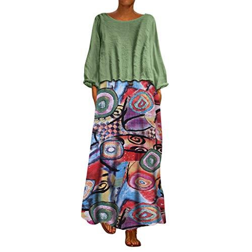 Damen lopily kleid mit blumenmustern spaghettitrgern maxi-kleid mit leinen top langarm-c x3_a_gr & uuml; n 18