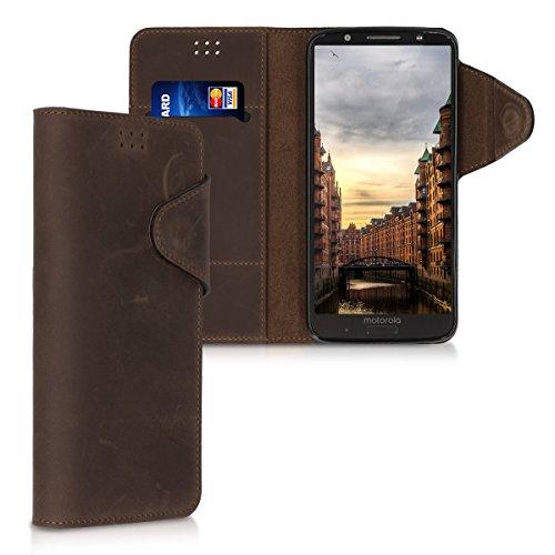 kalibri Hülle kompatibel mit Motorola Moto G6 Plus - Leder Handyhülle - Handy Wallet Hülle Cover in Braun