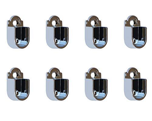 Metall Kleiderstange Schrankrohr Spurstangenkopf Halterung für Kleiderschrank, 37mm x 22mm x 14mm, 8 Stück Flanche für 16mm