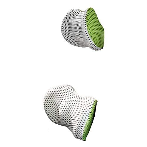 [Edel] ネックパッド クッション カー用品 ドライブ 姿勢 腰 背中 低反発 吸汗性 負担軽減 取り付け 簡単 白/緑