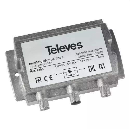 Televes 7485 - Amplificador fi 20db vs95 con paso terrestre