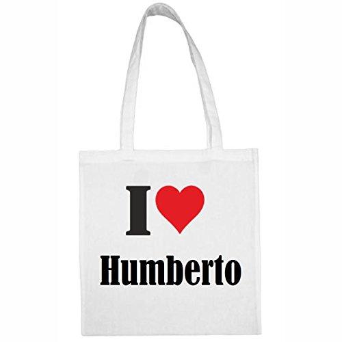 Tasche I Love Humberto Größe 38x42 Farbe Weiss Druck Schwarz