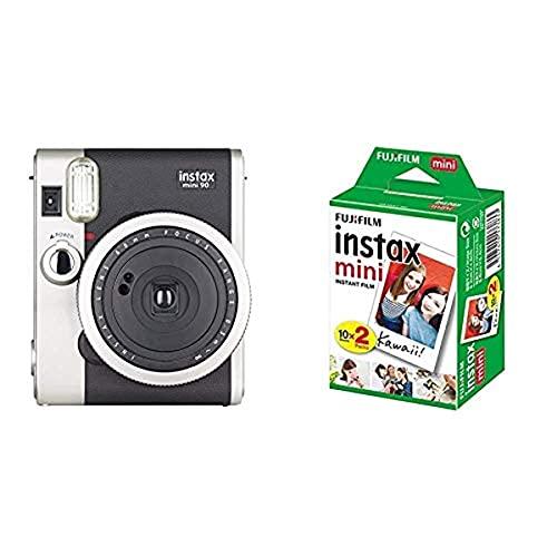 Fujifilm instax mini 90 Neo Classic Fotocamera Istantanea, Formato 62x46 mm, Nero/Argento & instax mini Film, Pellicola istantanea per fotocamere instax mini, Confezione da 20 foto