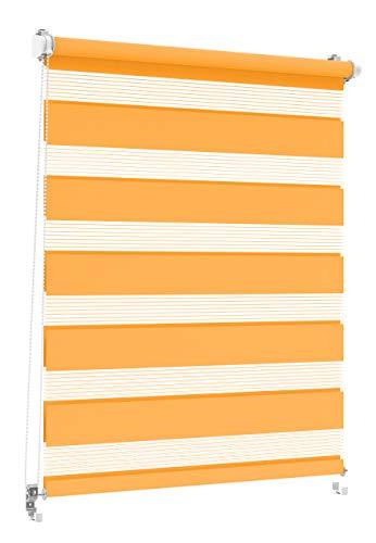 Doppelrollo Orange 60x150cm, Duo-Rollo Klemm-Fix mit Klemmträger, Fenster-Rollo/Seitenzug-Rollo ohne Bohren, lichtdurchlässig und verdunkelnd