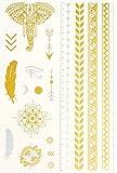 Tatuajes Temporales Tatsy, Festival Set, Brillante, Lustre, Oro, Para Mujeres Y Hombres, Diseño Original, Disfraz, Patrones Extraordinarios, Tatuajes Falsos, Impermeables, Elefante, Flechas, Plata
