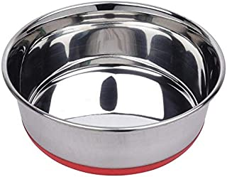 Naaz Pet Heavy Dog Bowl (Red) Export Quality with 100% Silicon Bonded Rubber Base Stainless Steel Dog Food Bowl Feeder Bow...