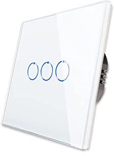 CNBINGO Touch Light Switch, White Triple 2-Way Light Switch, Tempered Glass Panel with LED Indicator, No Neutral Wire, 3-Gang, AC 240V 800W/Gang