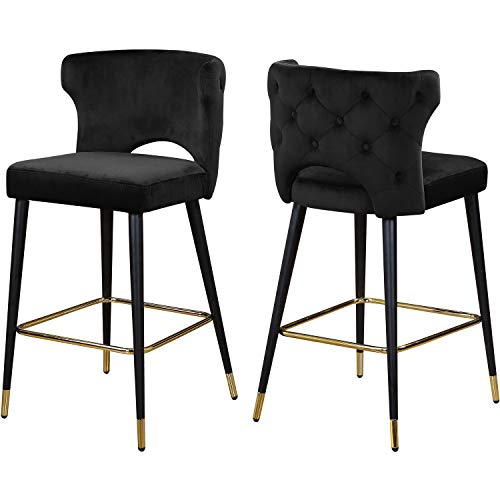 Meridian Furniture Kelly Collection Modern   Contemporary Velvet Upholstered Counter Height Stool with Gold Tipped…