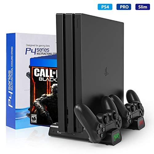 Buluri PS4 Standfuß mit lüfter, PlayStation 4 Vertikal Stand Dual Controller Ladestation mit LED für Playstation Ps4/ Ps4 Slim /Ps4 Pro