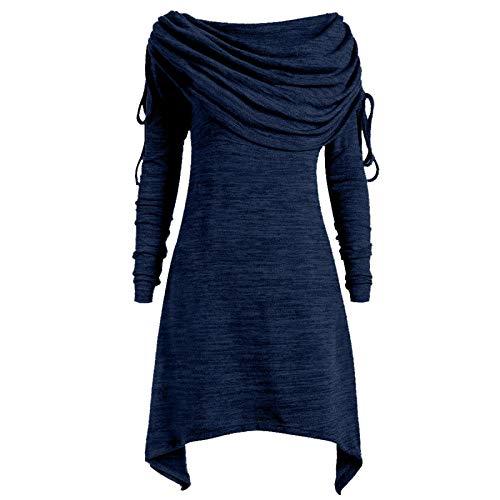 TLJJ Plus Size Túnica Top Blusa Suéter Vestido Mujer Fruncido Largo Cuello Plegado Vestido Suéter Mujer Invierno
