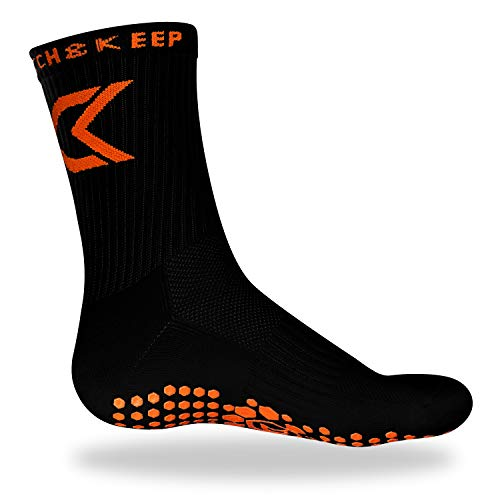 CATCH & KEEP Gripsocken - Damen, Herren und Kinder Sport Socken - elastische Anti-rutsch Stretch Socken - geeignet für Fußball, Pilates, Basketball etc. (Schwarz, Einheitsgröße 38-47)