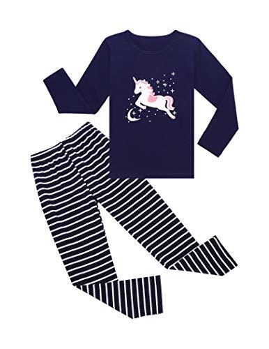 Bricnat Mädchen Schlafanzug Einhorn Eule Baumwolle Kinder Langarm Pyjama Schlafanzughose Lang Anzug Nachthemd Sleepwear Blua 120