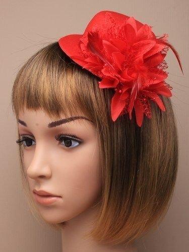 Bonnet Rouge Bibi Fleurs Double Clip Mesdames Jour Mariages Races les bals