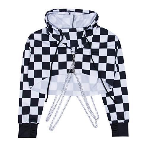 Greetuny 1X Harajuku Sudadera Corta Mujer Personalidad Hip Hop Ropa Cadena de Plata Hoodies con Capucha