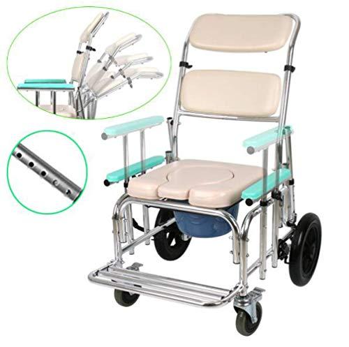 JDK Toilettenstuhl/mit Rollstuhl/höhenverstellbarer Rollstuhl/Duschstuhl/Badhocker/Badhocker, 4 Radbremsen (360°)/Mobile Toilette Senioren Behinderte Menschen 220 lb Obesity WM-LIHGT, A