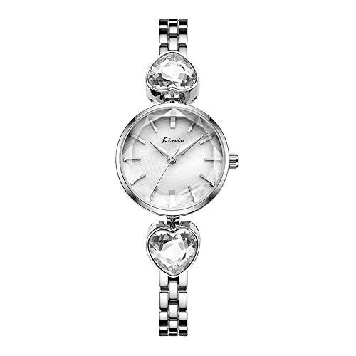 SW Watches Damenuhren, Bling Armreif Armbanduhren, Analoge Quarzuhr mit Edelstahlarmband,White