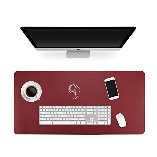 ele ELEOPTION Alfombrilla de ratón de piel, multifuncional, resistente al agua, escritorio de oficina, doble cara ultra delgada almohadilla (Negro/Rojo, 120x60cm)
