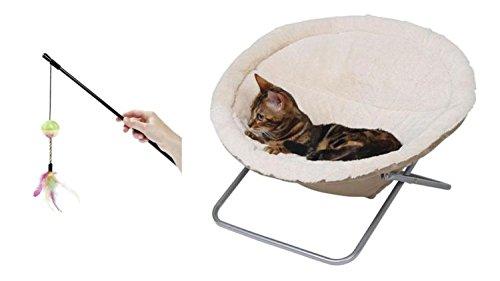 Cajou Liegemulde für Katzen Ø 58 cm mit Katzenangel zum Spielen 60 cm