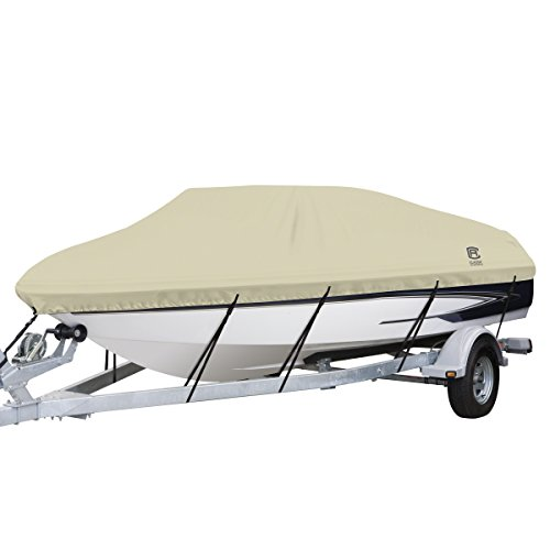 "Classic Accessories DryGuard Heavy Duty Waterproof Boat Cover For V-Hull Runabouts, For 20' - 22' L Up to 106"" W"
