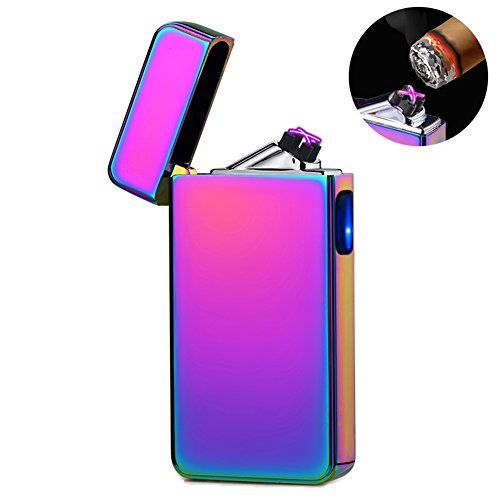 lcfun Dual Arc Plasma Lighter USB Rechargeable Arc Lighters Windproof Flameless Electric Lighter Candle Lighter (Magic)