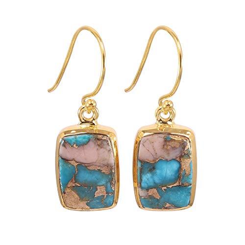 Earth Gems Jewelry Rosa Turquesa Plata Cuelga Pendiente Gota Pink Opal Kingman Turquesa Pendiente de plata esterlina Pendiente de regalo de Navidad (1 MICRON BAÑADO EN GLOD)
