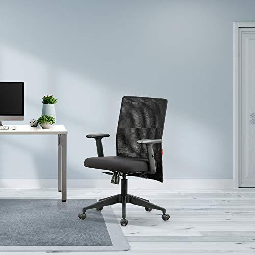 Featherlite Contact Project Medium Back Desk Fabric Arm Chair (Black)