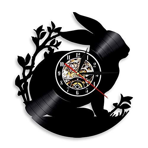 BFMBCHDJ Bunny Nostalgic Retro Style Vinyl Record Wall Clock Art Clock Home Decoration Wall Clock Led Night Light Wall Clock with LED 12 Inches