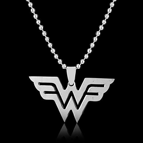 TWWTHX Collar gótico Superhéroe Liga de la Justicia Mujer Maravilla Collar Llamativo Colgante Amuleto Vintage Collar de Moda para Mujer