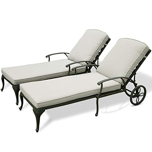 HOMEFUN Chaise Lounge Outdoor Chair with Beige Cushions, Aluminum Pool Side Sun Lounges with Wheels Adjustable Reclining, Patio Furniture Set, Pack of 2(Antique Bronze)