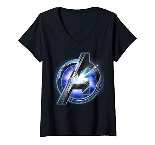 Donna Marvel Avengers Endgame Avenger Tech Logo Shine Maglietta con Collo a V