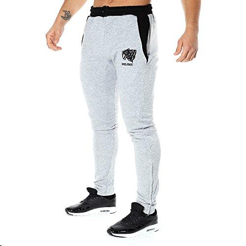 SMILODOX Slim Fit Herren Jogginghose 'Side Head' | Trainingshose für Sport Fitness Gym Training | Sporthose - Jogger Pants - Sweatpants Hosen - Freizeithose Lang, Farbe:Grau/Schwarz, Größe:S