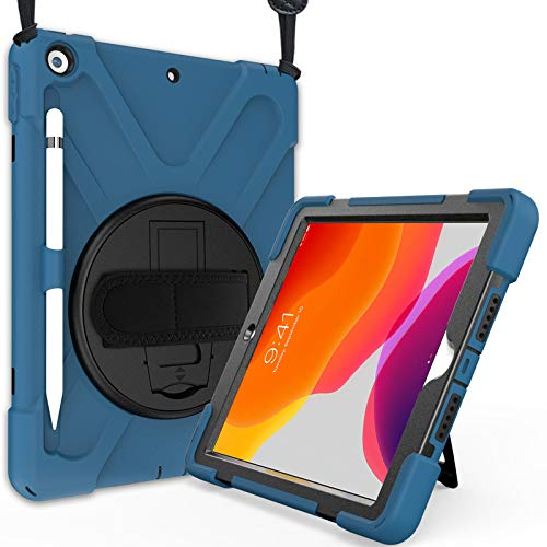 """ProCase Funda Resistente para iPad 8 2020 / iPad 7 2019 10.2"""", Bumper con Correa, Soporte 360° Rotativo Asa de Mano, Uso Rudo Antichoques para 2020 iPad 8ª / 2019 iPad 7ª Gen 10.2 Inch – Azul"""