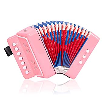 Accordion Kids Toy Accordion Mini Musical Instruments 7 Keys Button for Children Kids Toddlers Beginners Pink