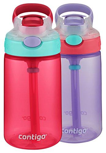 Contigo AUTOSPOUT Straw Gizmo Flip Kid Water Bottles, 14oz, Cherry Blossom/Wisteria, 2-Pack
